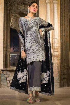 Online Wholesale Grey Net Party Wear Pakistani Suits Rosemeen ZC 32002 Set By Fepic Pakistani Dresses Online, Pakistani Formal Dresses, Pakistani Dress Design, Pakistani Suits, Bollywood Suits, Bollywood Fashion, Lehenga Choli, Anarkali, Salwar Kameez