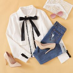 Contrast bow tied neck fitted jacket fashion xo in 2019 мода, луки. Teen Fashion Outfits, Swag Outfits, Cute Casual Outfits, Fashion Wear, Look Fashion, Korean Fashion, Girl Fashion, Girl Outfits, Womens Fashion