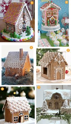 Wee Christmas finds: Gingerbread houses - 9. sassybeautimus' Flickr; 10. Hostess with the Mostess; 11. Martha Stewart; 12. King Arthur Flour; 13. Tiny white daisies; and 14. Call me cupcake.