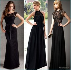 Vestidos color negro para damas de honor