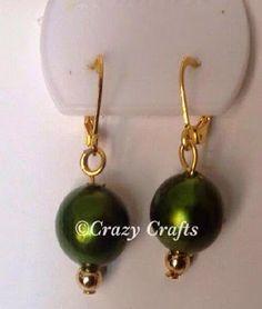 Handmade Jewelry | Green pearl simple handmade earrings
