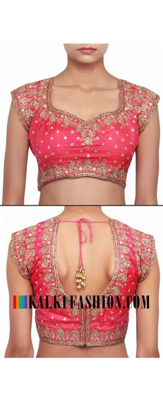 Buy online at: http://www.kalkifashion.com/red-blouse-adorn-in-paisley-motif-embroidery-only-on-kalki.html Free shipping worldwide.