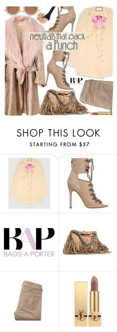 """""""Bold Neutrals"""" by bagsaporter ❤ liked on Polyvore featuring Gucci, Kendall + Kylie, Prada, STELLA McCARTNEY, Hollister Co., Yves Saint Laurent and House of Holland"""