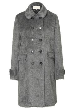 Vanessa Bruno Alpaca-Wool Haberdasher Coat - Borrowed from the boys, this classic haberdasher coat from Vanessa Bruno imbues Parisian chic into this menswear staple. Spread collar, long sleeves, double-breasted front button closure, flap pockets. Contemporary fit. Wear with a cashmere pullover, skinny jeans, and chelsea boots
