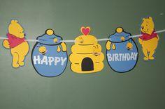 Winnie The Pooh Inspired Jumbo Birthday Banner por SayzItAll Boys 1st Birthday Party Ideas, Diy Birthday Banner, Baby Boy 1st Birthday, Halloween Birthday, 1st Boy Birthday, Tigger And Pooh, Winnie The Pooh Themes, Winnie The Pooh Birthday, Pooh Bear