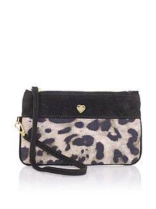 Just Cavalli Women's Cheetah Colorblock Beauty Bag, Brown