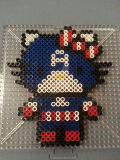 Hello Kitty Captain America Perler Figure by AshMoonDesigns.deviantart.com on @DeviantArt