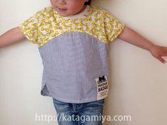[型紙販売]ハギレの活用が出来る、夏にぴったりの子供用ドルマンTシャツプルオーバー型紙。ニット&布帛の異素材使いでカットソーの着心地と布帛の涼しさの組み合わせ。ちゃきステ..