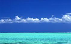 Tahitian turquoise sea and blue sky wallpaper Blue Sky Wallpaper, Wallpaper Pc, Bleu Turquoise, Turquoise Water, Tahiti, Ocean Life, Terra, Find Image, Caribbean