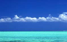 Tahitian turquoise sea and blue sky wallpaper Blue Sky Wallpaper, Wallpaper Pc, Tahiti, Turquoise Water, Ocean Life, Terra, Caribbean, Hawaii, Harry Potter