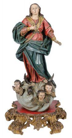 NOSSA SENHORA DA ASSUNÇÃO. Rara imagem em madeira policromada. Alt.: 50cm. Portugal-Séc.XVIII. Base r$4.000,00. Abr15.