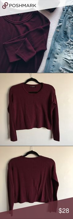 Brandy Melville Burgundy Cropped Sweater Says one size but is like S/M.  Great preloved condition 👍🏼 soft and super cute. Feel free to ask any questions 😊 offers are welcome Brandy Melville Sweaters Crew & Scoop Necks