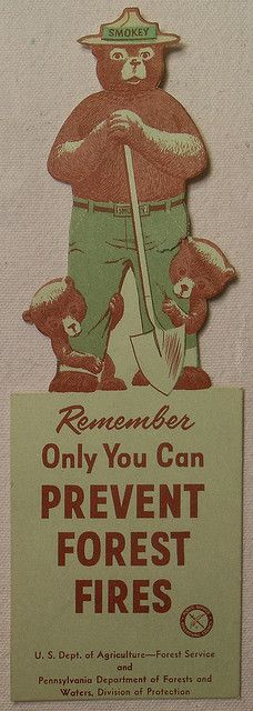 "1957 Smokey The Bear vintage illustration Book Mark. ""Only YOU can prevent forest fires!"" was the slogan"