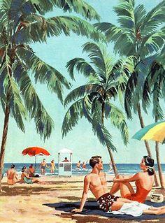 Miami Beach - 1952 Vintage Posters, Vintage Prints, Vintage Ads, Old Florida, Vintage Florida, Comic, Miami Party, Beach Art, Beach Illustration