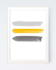 Yellow Grey Brushes Stroke Wall Print, Abstract and Minimalist Gold Grey Home or Office Decoration, Yellow Gray Modern Art, INSTANT. Living Room Decor Yellow Walls, Grey And Yellow Living Room, Grey Yellow, Bedroom Yellow, Living Rooms, Yellow Wall Art, White Wall Art, Yellow Painting, Art Moderne