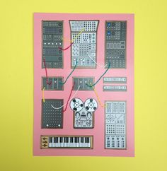 "Part of the new ""Craft Work"" range, these modular synth prints are digitally printed right here in the U.K. with individually finished, hand-embroidered details in brightly-coloured thread. Each print has different ""connections"" between synths and is stamped on the reverse with the website logo.Not suitable for young children."