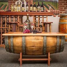 Found it at Wayfair - Wine Barrel Coffee Table Wine Barrel Coffee Table, Barrel Table, Rustic Coffee Tables, Cool Coffee Tables, Coffee Table With Storage, Cool Tables, Wine Collection, Wine Cellar, Wine Barrels