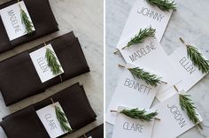 15 Inspirational Ideas For Creating A Modern Christmas Table Full Of Natural Elements // These simple name cards tuck nicely into a folded napkin and have a festive sprig of rosemary at the top to look like a mini Christmas tree.