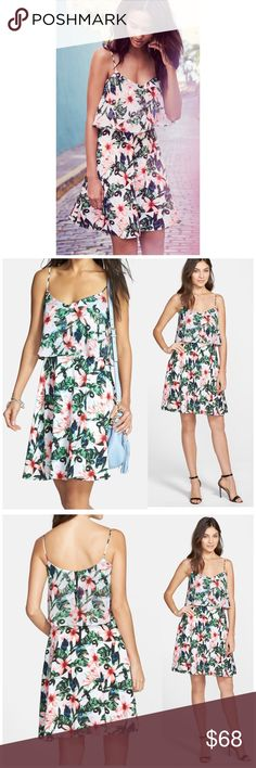 """NWT Vince Camuto Chiffon Jungle Lily Dress Brand new with tags  - V-neck - Back zip closure - Sleeveless - Non-adjustable spaghetti straps - Popover upper - Allover print - Lined - Approx. 38"""" length -100% polyester  Pit to pit 20"""" Waist laying flat 16.5 Vince Camuto Dresses"""