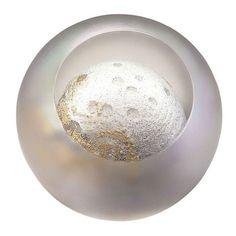GLASS EYE STUDIO Celestial Series Planet Paperweight Hand Blown Glass 488F MOON