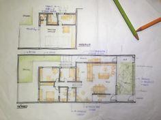 Esse croquis é o primeiro estudo feito após o estabelecimento do partido e análise dos fluxos. Temos desenhados aí os dois pavimentos da casa.