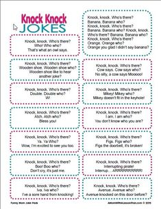 These funny knock knock jokes for kids will have you your kids laughing. They are perfect for lunch box jokes. 20 printable Jokes for Kids Knock Knock Witze, Funny Knock Knock Jokes, Funny Jokes For Kids, Toddler Jokes, Silly Jokes, Best Dad Jokes, Very Funny Jokes, Mom Jokes, Funny Jokes To Tell