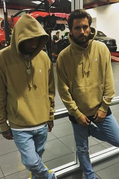 Scott Disick wearing Champion Reverse Weave Hoodie Sweatshirt