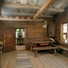Lautamies Hedmanin talo, Seurasaari, Helsinki Log Cabin Kitchens, Dining Room Inspiration, Interior Inspiration, Swedish Cottage, Simply Home, Medieval World, Rustic Room, Timber Frame Homes, Love Home