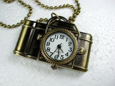 Antique Bronze Vintage Style Camera Pendant Watch by CharmAccents, $18.00