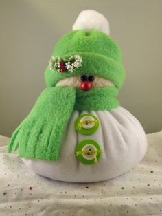 SNOWMAN DECORATION, Snowman Ornament, Christmas Decoration, Christmas Ornament, Fleece Snowman, Stuffed Snowman, Lime Green