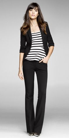 Black slacks, black blazer and striped top