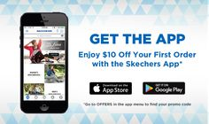 Skechers Shopping App - download from Apple Store or Google Play Store