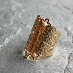 Gold flowers Ring Flowers Field  gold  Flower by gazellejewelry, $55.00
