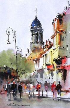 Love the simplicity of the figures in this painting by Corneliu Dragan-Targoviste. Watercolor City, Watercolor Sketch, Watercolor Artists, Watercolor Landscape, Watercolour Painting, Painting & Drawing, Watercolors, Drawing Drawing, Figure Painting