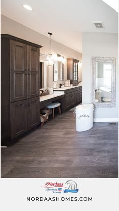 This modern farmhouse bathroom features dark wood cabinetry, wood floors, and white quartz countertops. Design a bathroom that suits your space, your budget, and your style. This bathroom was designed… Small White Bathrooms, Tiny Bathrooms, Guest Bathrooms, Rustic Bathrooms, Modern Farmhouse Bathroom, Classic Bathroom, Farmhouse Style Decorating, Farmhouse Design, Traditional Bathroom