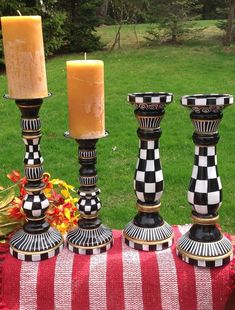 Black And White Whimsical Hand Painted Wooden Candle Stick Set by Michele Sprague Whimsical Painted Furniture, Painting Wooden Furniture, Painted Chairs, Funky Furniture, Painted Tables, Furniture Design, Diy Candle Wick, Diy Candles, Painted Candlesticks