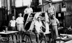 Interior of an aircraft factory at Richmond Street Maryborough during World War II