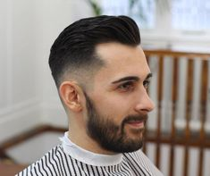 Mid Fade Brushed Back Hair