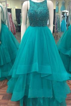 Princess Scoop Floor Length Organza Matric Dress Beading