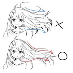 How to draw hair flowing in the wind
