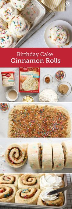 Whether you're celebrating a birthday or the start of the weekend, these cake mix cinnamon rolls are the perfect excuse to eat sprinkles for breakfast. For best results when cutting dough into rolls, use very sharp knife. You can also use unscented dental Yummy Treats, Sweet Treats, Yummy Food, Tasty, Just Desserts, Dessert Recipes, Cake Recipes, Party Recipes, Oreo Desserts