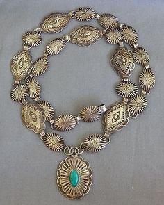 Vintage Harvey Era Navajo Handmade Silver Concho Necklace