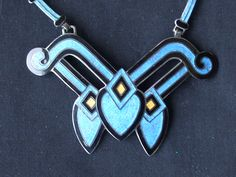 Enamel and Sterling Silver Margot de Taxco Necklace from Taxco Mexico 1950's. Deco Diamonds.