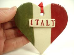 Italy Flag Ornament, Italian Ornament, Heart Tree ornament, Valentine Ornament…