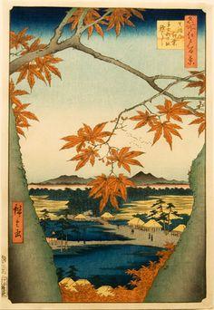Utagawa Hiroshige (1797–1858), Mama no momiji, Tekona no yashiro,Tsugi hashi [Number 94: Maple leaves and the Tekona shrine and bridge.  Ukiyo-e.