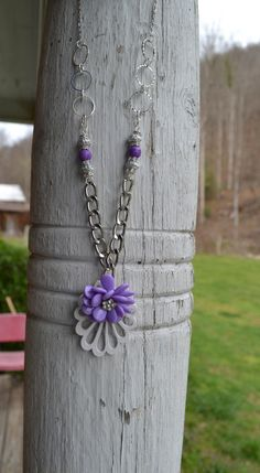 A personal favorite from my Etsy shop https://www.etsy.com/listing/288158597/beautiful-purple-flower-necklace-on