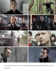 being a villain is easy. just stare at the ground a lot and look perpetually disappointed. Eric Divergent, Divergent Fandom, Divergent Trilogy, Divergent Insurgent Allegiant, Eric Coulter, Jai Courtney, Lights Camera Action, Veronica Roth, The Revenant