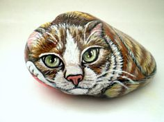 Painted  Yellow Cat  Rock  Art   Decor paper by ShebboDesign