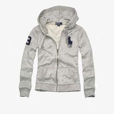 Cheap Ralph Lauren Women's Big Pony Fleece Hoodie Grey
