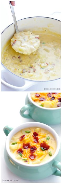 Homemade Potato Soup -- thick, creamy, comforting, and lightened up with milk instead of cream | gimmesomeoven.com